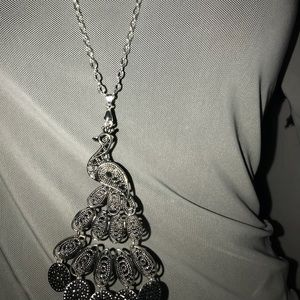 Jewelry - Silver-Plated Peacock pendant necklace